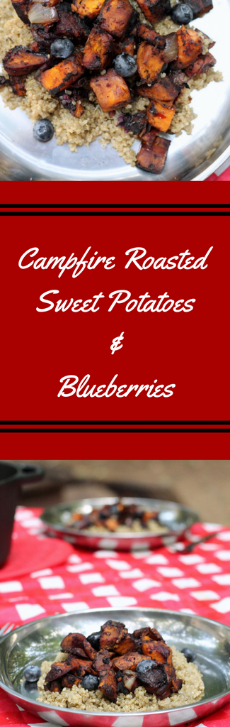 Campfire Roasted Sweet Potatoes and Blueberries make a great meatless Monday dish that is perfect for camping recipes or busy weeknight meals