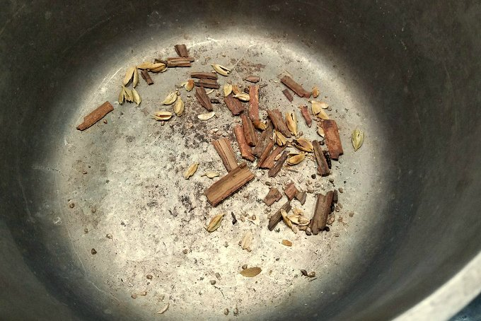 Cinnamon and Cardamom toasting for Chocolate Orange Hot Cocoa