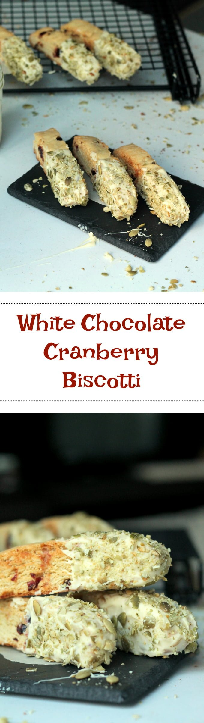 White Chocolate Cranberry Biscotti Recipe - perfect dessert for the holiday season and makes the perfect hostess gift or stocking stuffer.