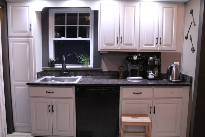 DIY Kitchen Makeover after sink wall