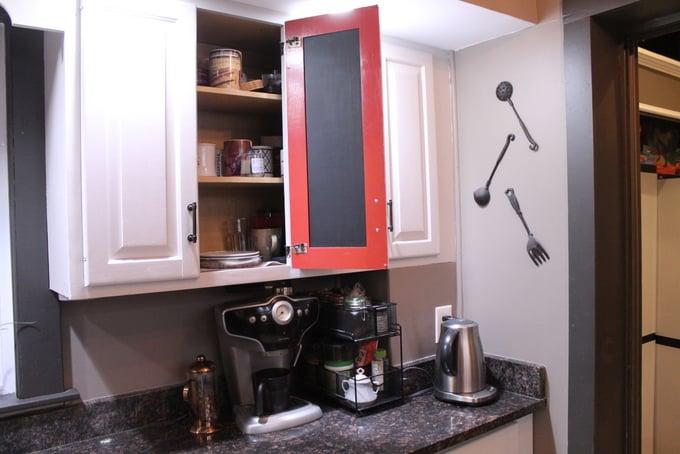 DIY Kitchen Makeover After cabinet chalkboard doors