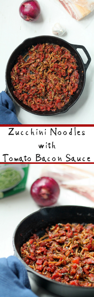 Zucchini Noodles recipe with savory tomato bacon sauce for easy side dish for family dinners on busy weeknights