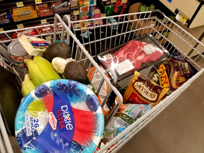 Family Road Trip NH to WA Grocery Stock up for Camping and Travel