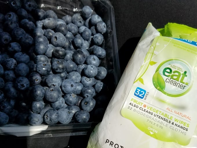 Family Road Trip NH to WA Rainier Fruit Blueberries with Eat Clean Wipes