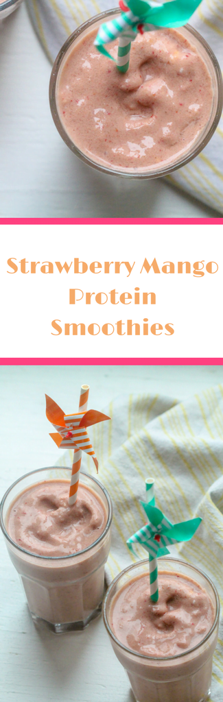Looking for the perfect breakfast smoothies?This delicious strawberry mango protein smoothie recipe is just the thing you need to change quick healthy breakfasts up on busy week mornings