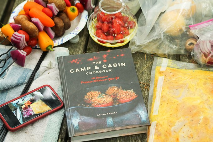 Camp and cabin cookbook with persian chicken kebab ingredients