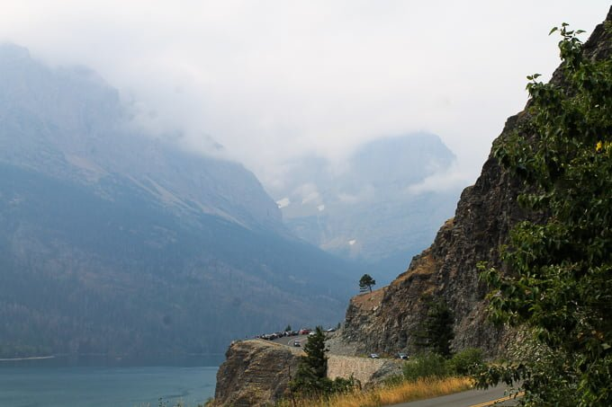 Glacier Mountain National Park family road trip - road by lake