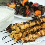 Campfire Grilled Persian Chicken and Vegetable Kebabs with Yogurt Dip