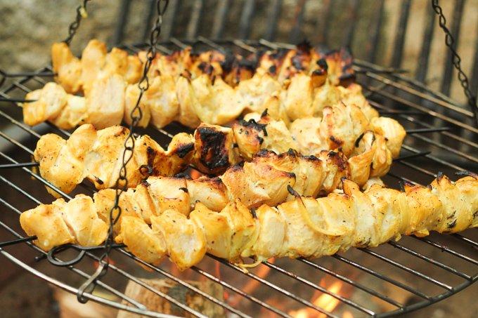 Persian Chicken Kebabs Grilling