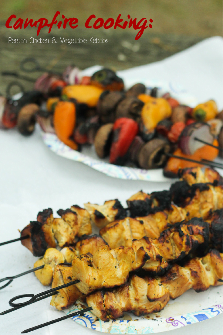 This isn't a boring old camping recipe. Persian Chicken and Vegetable Kebabs give campfire cooking a whole new flavor. I'm sharing this chicken recipe and the camping cookbook you'll want for every family vacation camping trip.
