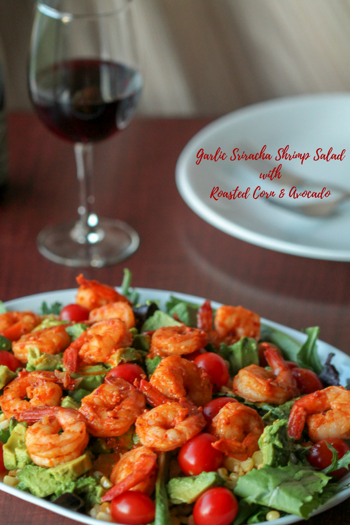 easy gourmet garlic sriracha shrimp salad w/ roasted corn & avocado - this dinner salad recipe can be made in your hotel kitchenette, over a campfire, or at home. Say what? Yup. Check it out!