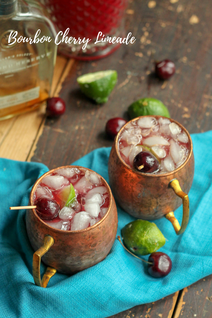 (21+ Beverage) Take the popular homemade cherry limeade recipe up a notch with an adult beverage. This bourbon cherry limeade cocktail is sure to hit the spot on a hot summer day and is the perfect summer party drink.