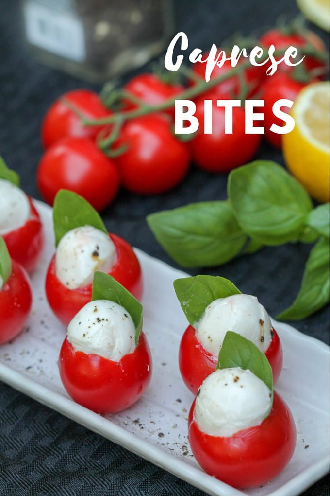 Caprese Bites are the perfect mashup of a caprese salad and stuffed tomato recipe. Perfect for a light gluten-free lunch, snack, or party appetizer any time of year.