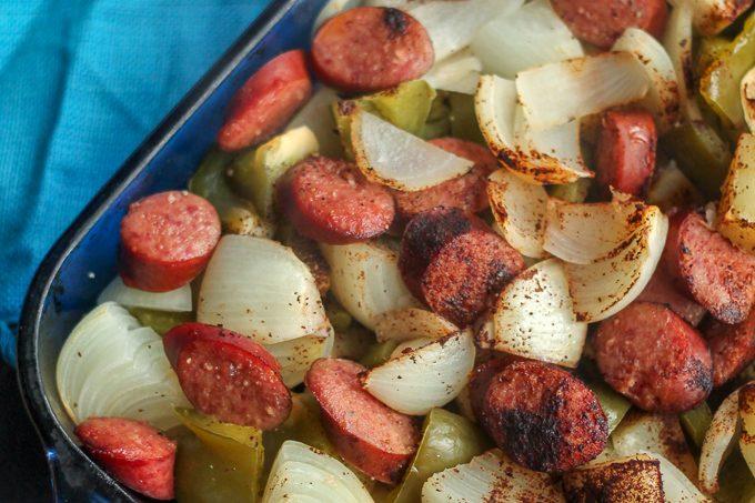 Smoked Sausage and Pepper Potato Bake