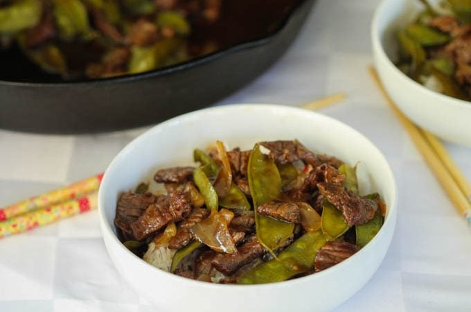 Spicy Apricot Beef and Snow Pea Stir Fry