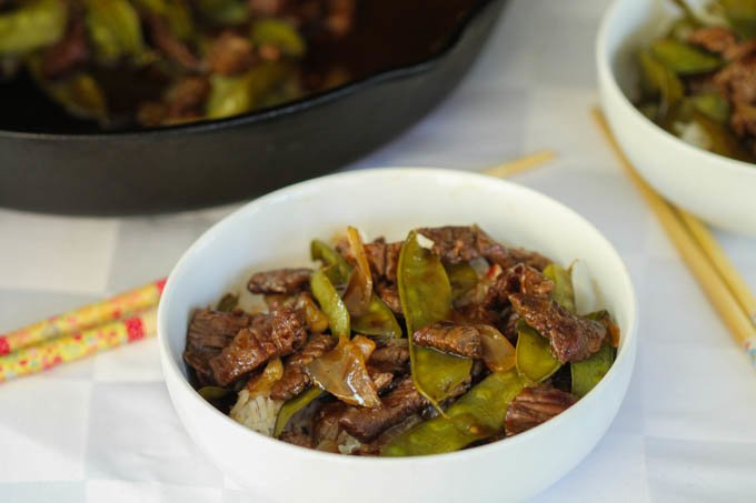 Spicy Apricot Beef Stir Fry recipe Snow Peas