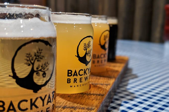 backyard brewery beer flight